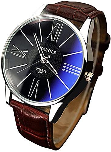 ZFAYFMA Relojes para Hombre, Moda de Lujo Costo de Cuero para Mujer Cuarzo de Cristal Cuarzo de Acero Inoxidable Relojes Business Casual Descuento Hombres Brown