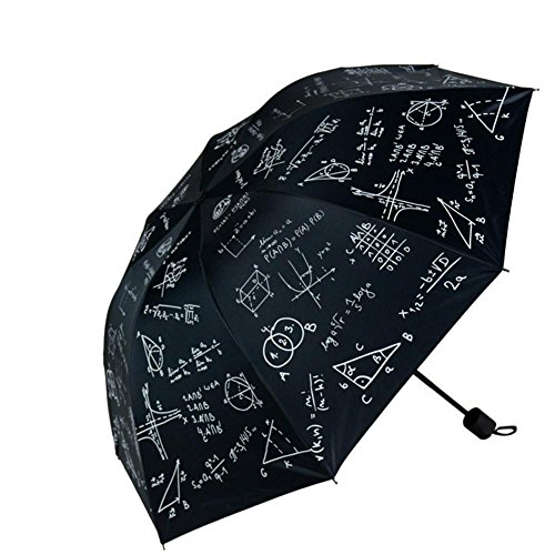 JAYLONG Travel Umbrella 8 Ribs Chalk and Formula Robusto portátil de Acero Inoxidable de construcción de Secado rápido Paraguas Plegable Impermeable para Mujeres, Hombres, niños y niños