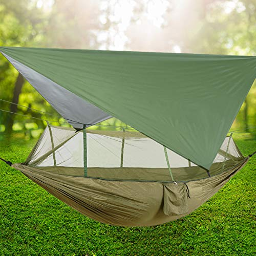 TOPCHANCES Ultralight Portable Camping Hammock with Mosquito Net & Rainfly Tent Tarp & Tree Straps Portable Single & Double Parachute Hammock Bed for Outdoor, Hiking, Backpacking, Travel (#2)