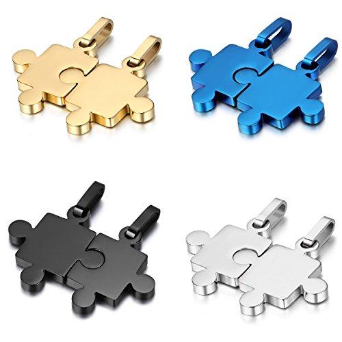 Juego de collares con colgante en acero inoxidable con diseño de puzle para parejas y regalo de San Valentín, color azul, plateado, dorado y negro (4 pares, 8 piezas)