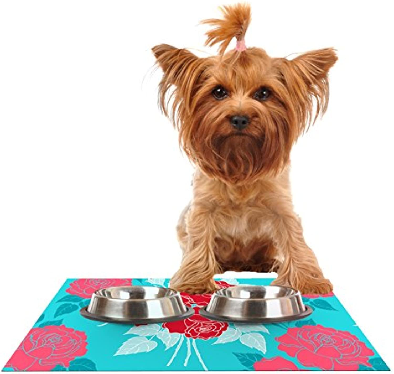 Kess InHouse Anneline Sophia Summer pink Red  bluee Aqua Feeding Mat for Pet Bowls, 24 by 15