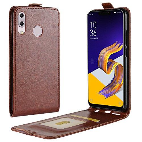 Zl One Compatível com/Substituição para Capa de telefone Asus Zenfone 5 ZE620KL Couro Poliuretano Proteção Cartão Compartimentos Capa carteira Capa flip (Marrom)