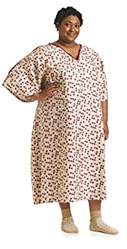 Medline IV Patient Gowns Royal Print for Exams Tieside 5X-Large Wine  Pack of 12