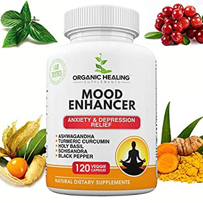All Natural Mood Enhancer | Anxiety Relief | Depression Relief | Ashwagandha, Turmeric Curcumin, Holy Basil, Schisandra, and Black Pepper | Balanced Body & Mind