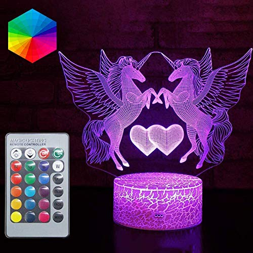 Unicorn Gift Unicorn Night Light, 3D Light lamp 16 Colors Changing Remote Control Touch USB Decorative Lamp for Girls Boys Kids Gifts