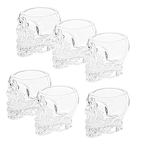 Set of 6 Skull Shaped Clear Glass Novelty 2.8 oz Shot Glasses/Decorative Halloween Drinkware - MyGift