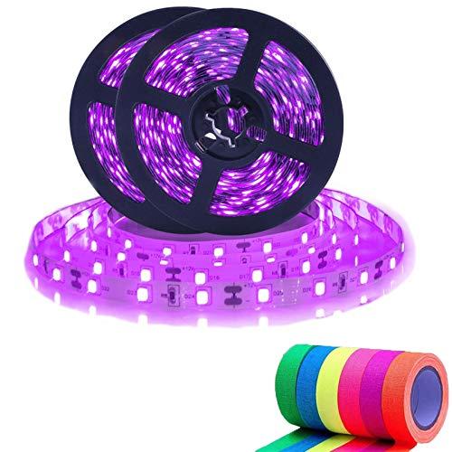 UV Black Light Strip Kit, 32.4ft LED Blacklight Outdoor Christmas Decorations, 600 Units Lamp Beads, 12V Flexible Blacklight Fixtures for Fluorescent Dance Bedroom Wedding Party