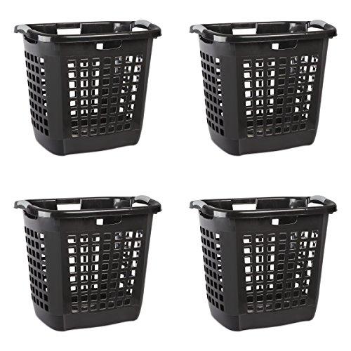 Sterilite 12259004 Ultra Easy Carry Hamper, Black Hamper w/ Titanium Inserts, 4-Pack