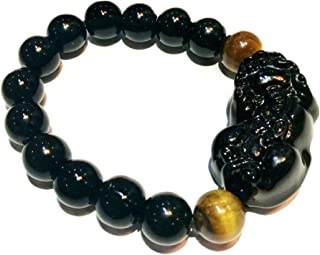 Feng Shui The Best 10mm Black Hand Carved Mantra Bead Bracelet with Obsidian Pi Xiu/Pi Yao Lucky Wealthy Amulet Brecelet w...