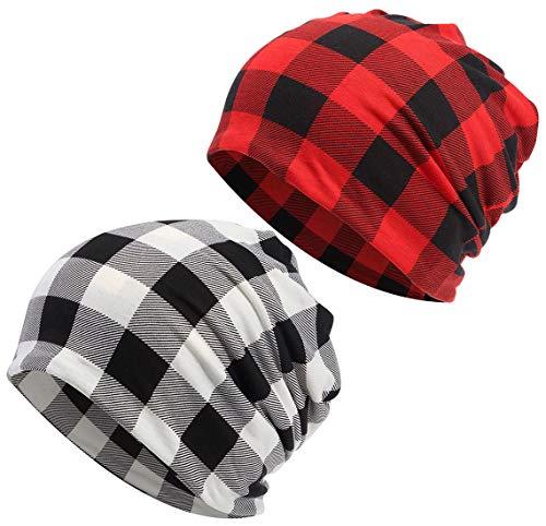 Women's Baggy Slouchy Beanie Chemo Cancer Scarf Hat Cap Hair Cover Wrap Turban Headwear (B Black Red and Black White Buffalo Plaid)
