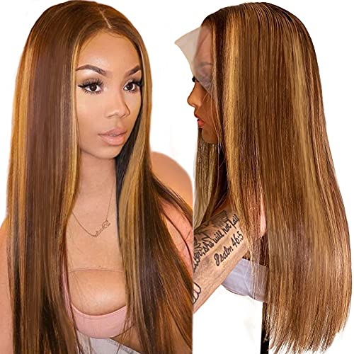 Flady Highlight HD Transparent Lace Front Human Hair Wigs for Women Pre Plucked 150% Density Brazilian Straight T-Part Lace Wig With Baby Hair 24inch