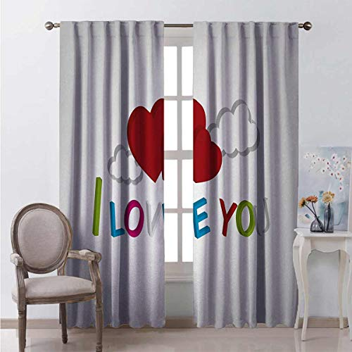 Toopeek I Love You Blackout curtain 3D Letters Clouds and Hearts Romantic Message Happy Feelings 2 panels W52 x L63 Inch Lime Green Blue Magenta Ruby