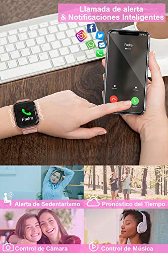 BANLVS Smartwatch Reloj Inteligente IP67 con Correa Reemplazable Pulsómetro, Monitor de Sueño, Presión Arterial, 1.4… 5
