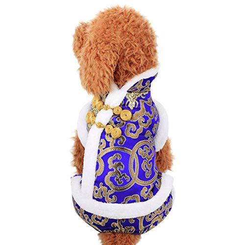 Hundemantel Haustier Hund Warm Mantel Jacke Haustier Winter Warmer Mantel Für Neujahr Vier Beine Tang Anzug Kleidung Neuheit Lustig Festival Lucky Jacket Add Festival Atmosphere-Blue_L
