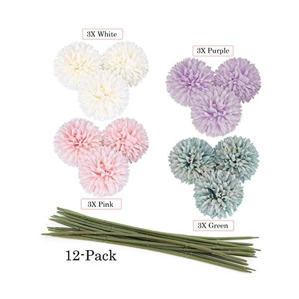 MWOOT Flores Artificiales [Paquete de 12], Hortensias Falsas para Decoración de Oficina de Fiesta del Jardín del Hogar…