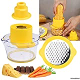 Corn Stripper/Potato Peeler and Fruit/Vegetable/Chocolate Grater with Measuring Bowl - Space Saving Design - Non Slip Silicone Bottom - Dishwasher Safe - No Electricity, No Noise