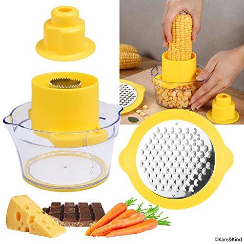 Maisschraper/aardappelschiller en groente/chocolade rasp met maatbeker - ruimtebesparend ontwerp - antislip siliconen bodem - vaatwasmachinebestendig - geen stroom, geen lawaai
