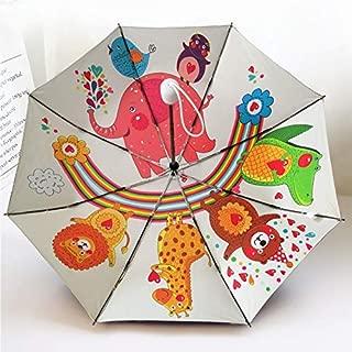 JXSHQS Automatic Children's Umbrella Men and Women Rain and Rain Dual-use Ultralight Black Rubber Sunshade Child Student Folding Automatic Umbrella Umbrella (Color : White)