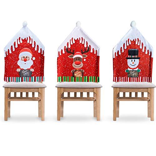 LYFETC Weihnachts stuhlbezüge 3er-Set, Weihnachten Stuhlhussen Stuhlbezug Nikolausmütze Stuhlüberzug Stuhlabdeckung Küche Stuhldeko Ornament Weihnachtsdeko Party Supplies(47x57cm)