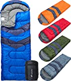 MalloMe- Saco de dormir para acampar, 3 estaciones, clima cálido y fresco: verano, primavera, otoño, ligero, resistente al agua, para adultos y niños.