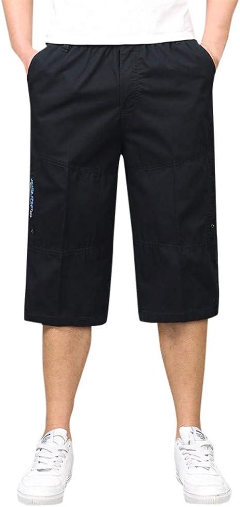 MODOQO Men's Cargo Shorts,Summer Fashion Loose Casual Solid Color Shorts with Multi-Pocket