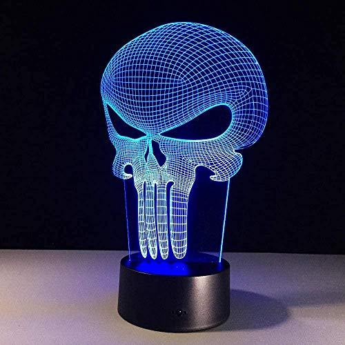 DXJA HCDZF 3D noche luz cráneo 3D LED noche luz cambiante color lámpara bulbing luz acrílico holograma ilusión lámpara de escritorio para niños 7 colores