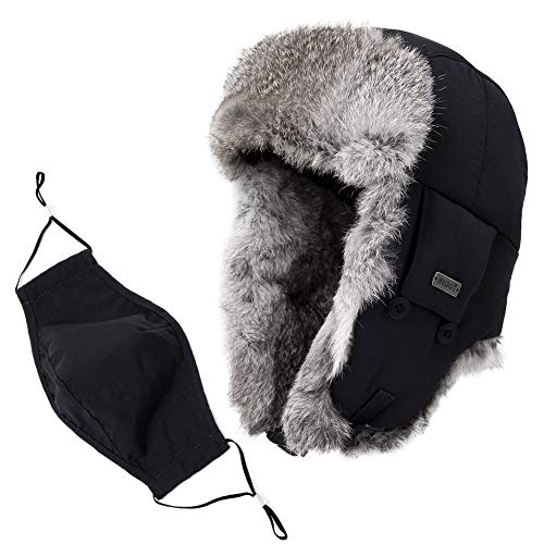 Jeff & Aimy Rabbit Fur Trapper Hat for Men Earflap Windproof Winter Trooper Hat Ushanka Russian Hat Pilot Bomber Hat Face Mask Thick Warm Black 57-61CM