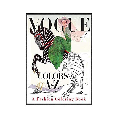 Cuadros De Arte De Pared Cuadros Vintage Vogue Figura Citas Póster E Impresiones Lienzo Pintura Mujeres Carteles Vintage Cuadros Decorativos Carteles Art Deco - 50X70Cm