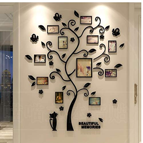 Family Tree Wall Decals 3D Acrylic DIY Photo Frame Wall Stickers Mural for Home Decor Wall Poster Hanging Black