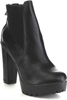 Hanna-11 Women's Platform Chunky Heel Lug Sole Chelsea Ankle Booties