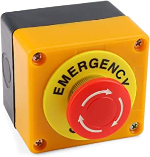 Emergency Stop Button 660V 10A Red Sign Weatherproof Self Locking Emergency Stop Push Switch 1 Pieces