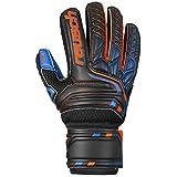 Reusch Attrakt SG Extra Finger Support Junior - Guantes de Portero para niños, Color Negro, Naranja y Azul Oscuro, 7
