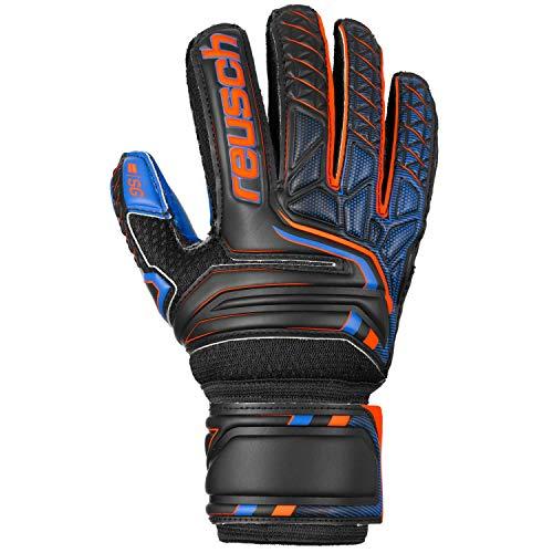 Reusch Kinder Attrakt SG Extra Finger Support Junior Torwarthandschuhe, Black/Shocking orange/deep Blue, 8