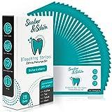 Sauber & Schön Bleaching Stripes – [28x] White Stripes für Ober- & Unterkiefer – [56x] einzelne Stripes – Inklusive praktischer Zahnaufhellungsskala & Anleitung – Dermatest zertifiziert