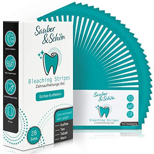 Sauber & Schön Bleaching Stripes - [28x] Bleaching Stripes für Ober-, und Unterkiefer; insgesamt [56x] einzelne Stripes - mit Zahnaufhellung Skala -