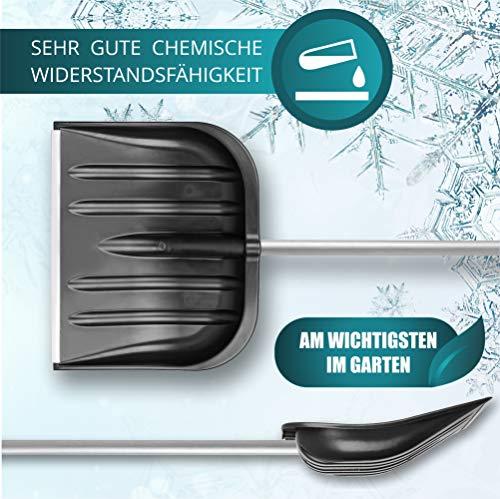 KADAX Schneeschaufel mit ergonomischem Griff, Kunststoff-Blatt, Schneeschieber, ideale Schneeschippe für kleine und große Schneemengen, Schneeräumer, stabil (Aluminium-Stiel, schwarz) - 6