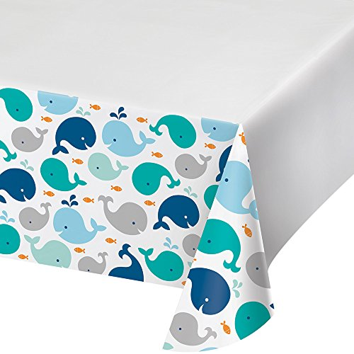 Creative Converting Border Print Plastic Tablecover, Lil' Spout Blue