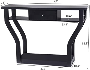 Giantex Console Hall Table for Entryway Small Space Sofa Side Table with Storage Drawer and Shelf Home Office Living Room Fur