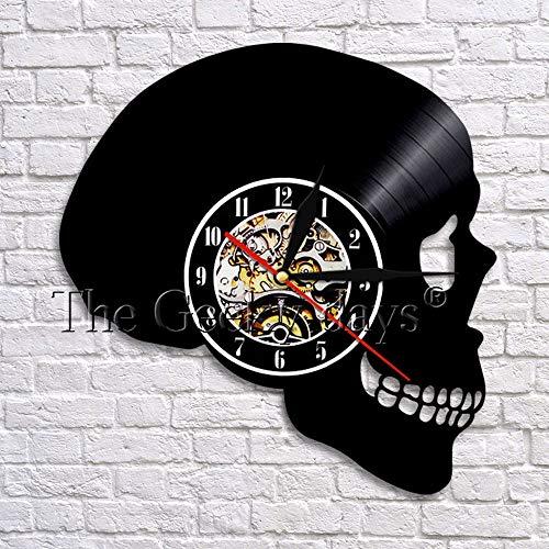 fdgdfgd Diseño Reloj Cráneo Art Deco 3D Reloj de Pared Disco de Vinilo LED Luz de Noche Reloj Lámpara de Pared | Reloj de Pared de Bricolaje Luminoso de 7 Colores