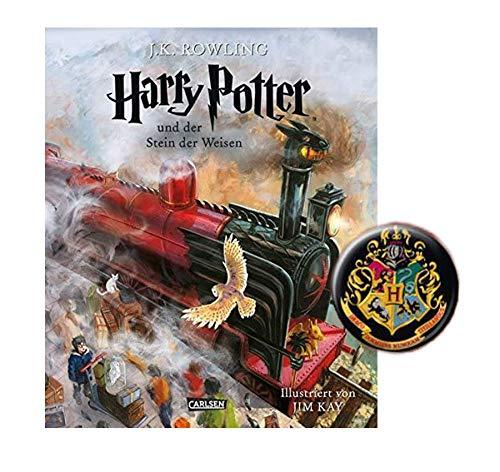 SCHMUCKAUSGABE: Harry Potter und der Stein der Weisen (vierfarbig illustrierte Schmuckausgabe) + 1. Original Harry Potter Button