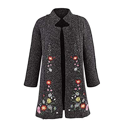 Rising International Women's Heidi Sweater Coat - Embroidered Floral Jacket - XL Gray from Rising International