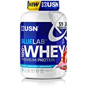 Premium Whey Protein Powder: USN Blue Lab Whey Strawberry 2kg, Scientifically formulated Whey Protein Post-Workout Muscle Building Supplement Powder Shake With Added BCAAs