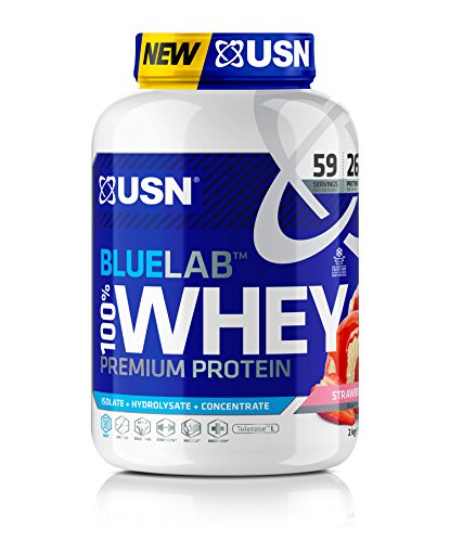 USN Whey Protein Powder: Blue Lab Whey Strawberry 2 kg, 100% Premium Post Workout Muscle Recovery