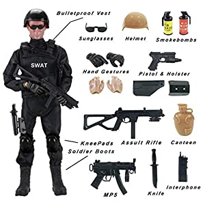 Liberty Imports 12-Inch Special Forces Military Action Figure Army Man Toy Soldier - 30 Articulation Points and 15 Weapons and Accessories (SWAT)