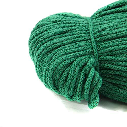NTS Nähtechnik - Corda di cotone da 100 m, larghezza 4 mm, con anima in poliestere e corda decorativa (verde, 4)