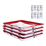 Food Tray Stackable Creative Food Preservation Tray Reusable, Durable, Superior for Keeping Food Fresh, Dishwasher & Freezer Safe (4 pcs Trays and 32 pcs Food label)