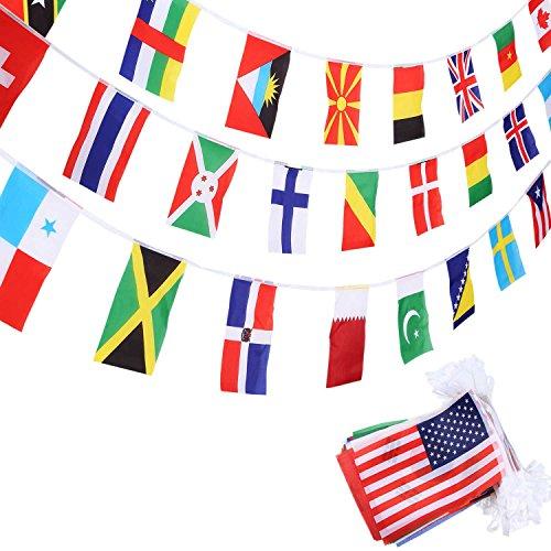 SATINIOR 200 Länderflaggen Internationale Flaggen Olympische Weltflaggen Wimpel-Banner für Bar, Klassenzimmer, Dekorationen der Olympischen Partei, Sportvereine, Internationale Feierlichkeiten