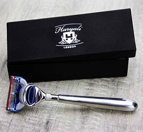 Lichtgewicht handvat van roestvrij staal (Fusion Cartridge Head) scheermes voor mannen (verwisselbare kop). Wordt geleverd in een designerbox. Perfect als cadeau.