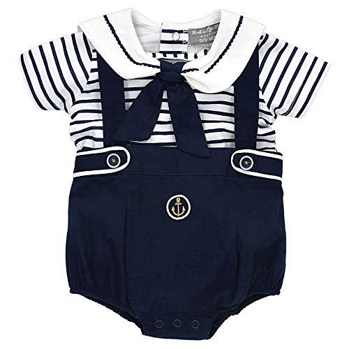 Rock A Bye Baby Set T-Shirt Shorty Jungen navy weiß | Motiv: Maritim Matrose | Sommer Outfit 2 Teile für Neugeborene & Kleinkinder | Größe: 0-3 Monate (62)