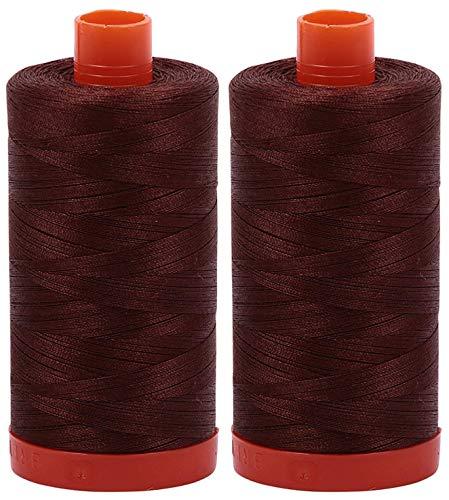 Find Bargain 2-Pack - Aurifil 50WT - Chocolate (2360) Solid - Mako Cotton Thread - 1422 Yards Each